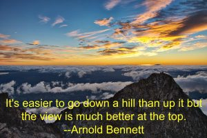 It is easier to go down a hill than up it but the view is much better at the top; photo by Dave Young Flickr CC, Lynette M Burrows